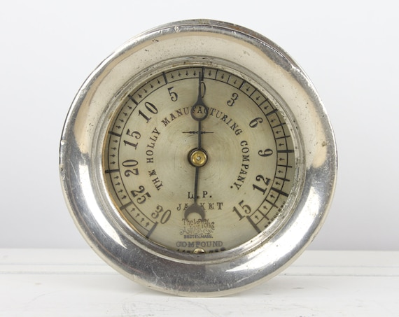 Antique Steam Gauge - Ashton Valve Co. Boston, MA - 3.5 - 148/732 - Compound - The Holly MFG Co. - Nickel Plated Brass - Early 20th Century