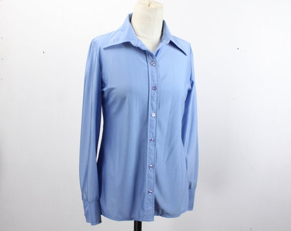 Vintage Women's Button Front Blouse - Jatzen - Blue - Butterfly Collar - Fitted Cut - Straight Hem - 1970's - Large 12