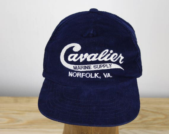 Vintage - Cavalier Marine Supply - Norfolk, MA - Blue Corduroy - Trucker Cap - Dad Hat - 100% Cotton - One Size Fits All - Workwear