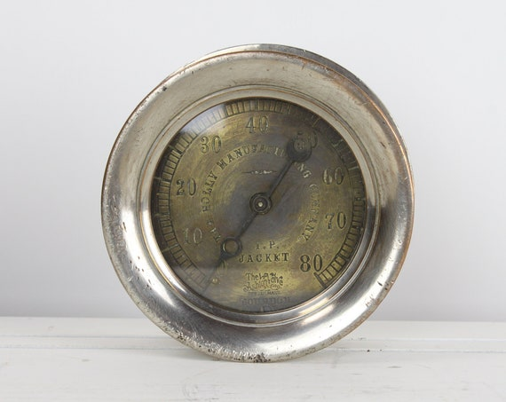 Antique Steam Gauge - Ashton Valve Co. Boston, MA - 3.5 - 174/735 - Bourdon - The Holly MFG Co. - Nickel Plated Brass - Early 20th Century