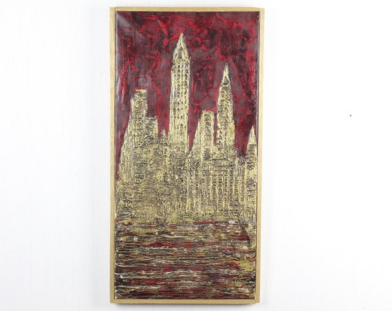 Vintage Painting - Abstract - Empire State Building NYC Skyline  - Vittorio Muscariello - Mid Century - MCM - Red / Black / Gold - Oil
