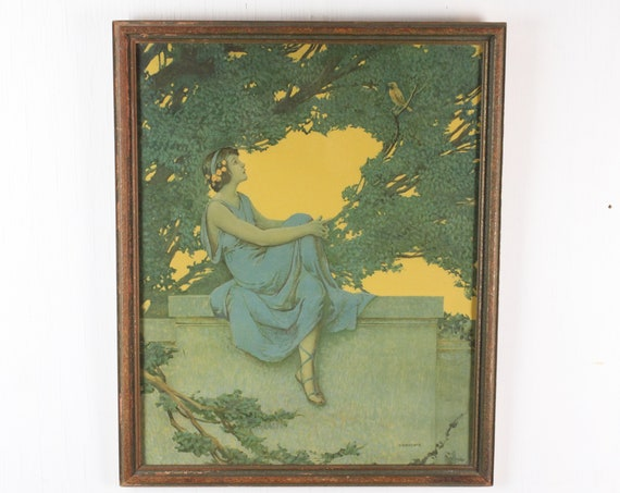 Vintage Fine Art Print - Vincent Aderente - The Serenade - Period Frame Under Glass - Art Nouveau - 1920's - Gold / Blue / Green
