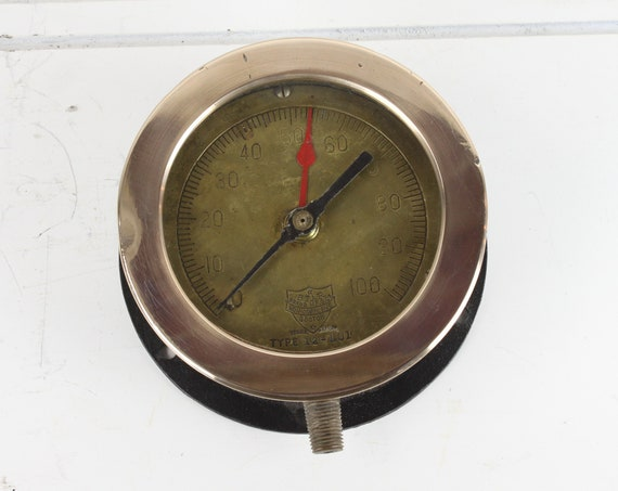 Antique Steam Pressure Gauge - Star Brass MFG. Co Boston, MA - 4.5 - Type 12-101 - PSI - Early 20th Century