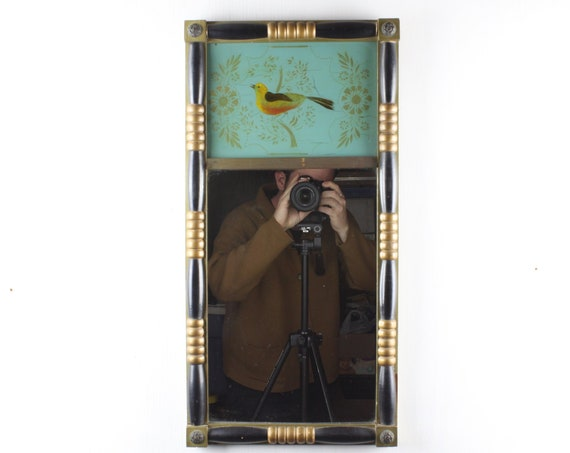 Vintage - Federal Reproduction Mirror - 1930's - Gilt & Black - Reverse Painted Bird with Gold Flowers on Teal Field - Brass Florette Accent