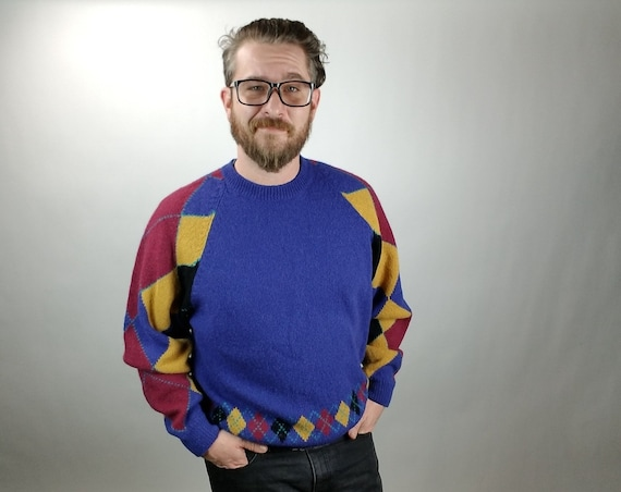 Vintage Men's Sweater - Alan Michaels - Blue/Burgundy/Black/Yellow - Argyle Pattern - Shetland Wool - Crew Neck - Large - 1980's