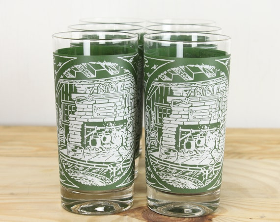 Vintage - Mid Century - Tumbler Glasses - Set / 6 - Green/White Cottage Pattern - Hearth - Fireplace - 1960's-1970's - Glassware