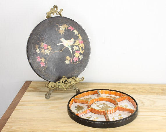 Vintage - Japanese - Porcelain - Fine Bone China - Lazy Susan - Divided Service - Sushi - Relish - Lusterware - Gold Leaf - Lacquerware Box