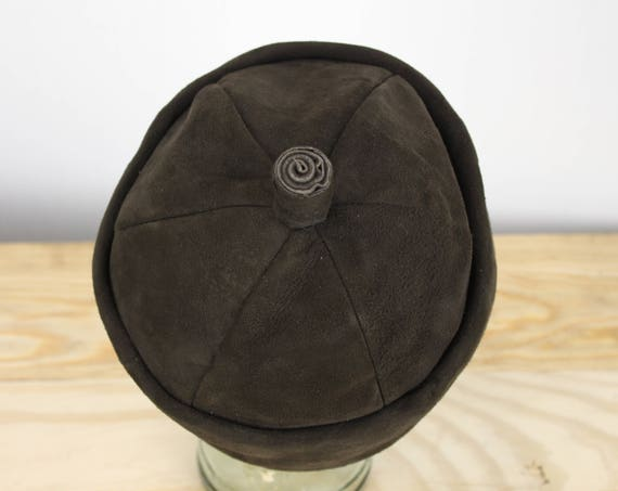 Vintage Women's Hat - Acorn Cap - W. M. H. Block Co - Brown Suede - Leather - 1950's - 1960's - Fall - Winter - Fashion - Fairy - Fae