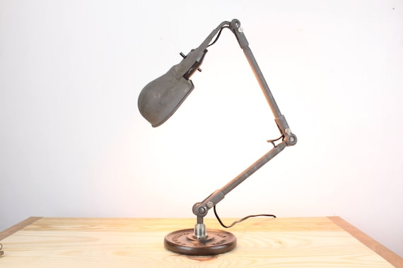 Vintage Upcycled Desk Lamp - Articulated - Bakelite, Steel-  Lurie Brooklyn Custom Base - 1940's - 1950's - Home Decor - Machine Age