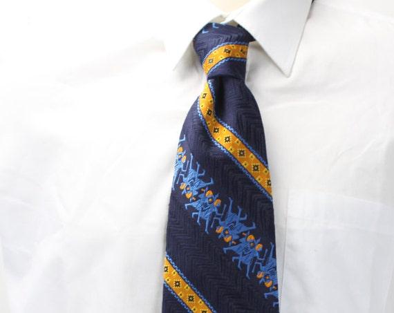 Vintage Men's Necktie - Kennedy's by Oleg Cassini - American Regimental Stripe - Blue - Yellow - Geometric - Egyptian - 1960's