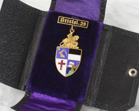 Vintage - Knights Templar - Bristol Commandery - No 29 - St George - Templar Cross - Medal - Gold & Enamel - Masonic - Free Mason