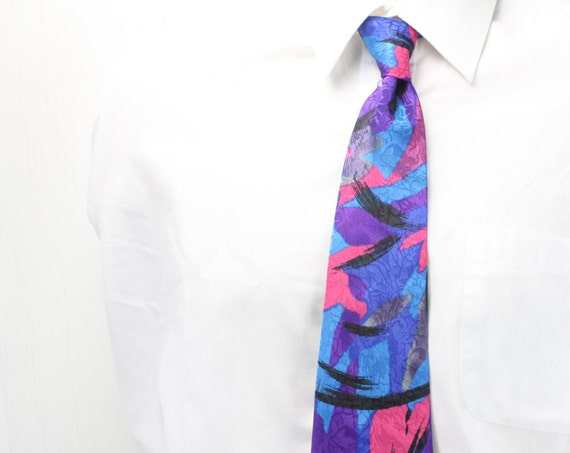 Vintage Men's Necktie - Florence - Silk Feel - 1980's / 1990's - Abstract w/ Floral Overlay - Blue - Pink - Grey - Black