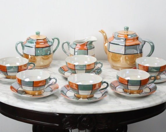 Vintage Lusterware Tea set - Fine Bone China - Rising Sun - Made in Japan - 1930's - Art Deco - 15 Pieces