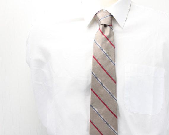 Vintage Men's Necktie - Christian Dior - Silk - 1950's / 1960's - University Stripe -Copper Tinted Gunmetal - Blue - Red - White