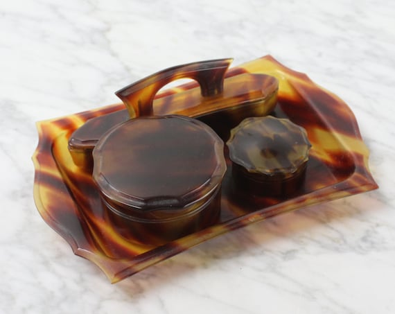Vintage - Vanity Set - Pyralin - Florentine Shell - Celluloid - Faux Tortoise Shell - Tray - Box - Nail Buffer - DU BARRY - 1920's