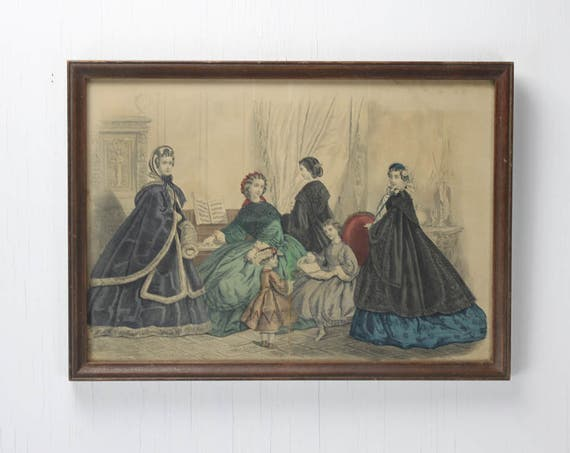 Antique Women's Fashion Plate - Capes & Gowns - Parlour Scene - Late 1800's - Engraving - Hand Inked - Print