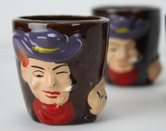 Vintage - Shot Glass - Set of 3 - Smoking Cowboy - Redware - Mid Century - Japan - Terracotta - Brown Glaze - Hand Painted