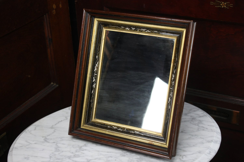 Victorian Triple Framed Mirror 1800s Gilt Black Lacquer
