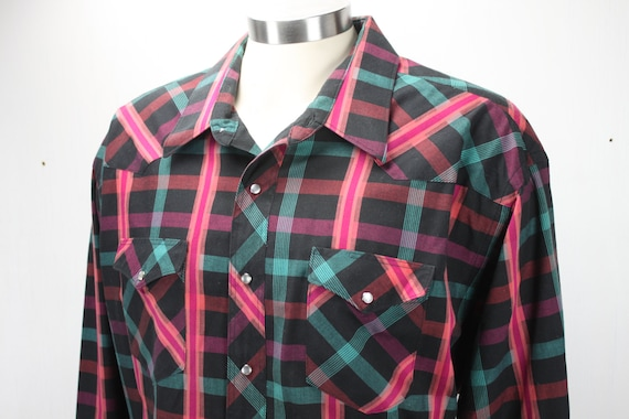 Vintage Men's Western Wear Shirt - Wrangler - 5 XL - Late 1960's - Single Needle Tailoring - Purple/Orange/Green Plaid on Black