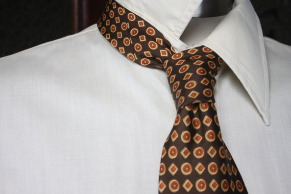 Vintage Men's Necktie - Sears - The Men's Store - Arc de Triomphe - Brown - Geometric Badges - Vintage Men's Accessories - Men's Fashion