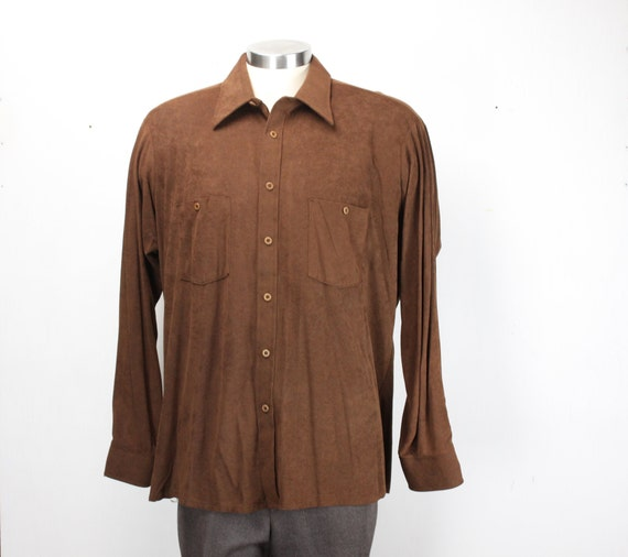 Vintage Men's long Sleeve Shirt - Van Heusen - Super Suede - Sports Wear - Brown - Faux Micro Suede  - XL - 18 - 35 - 1970's