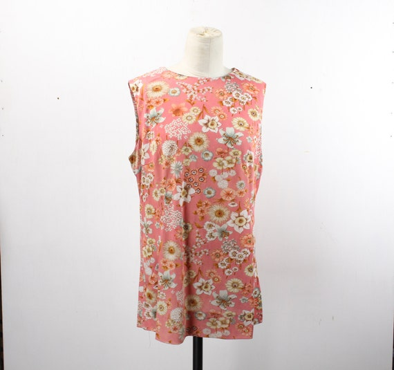 Vintage Women's Blouse / Mini Dress - A Line - 1960's - Handmade - Pink - Floral Pattern - Sleeveless - XL 18