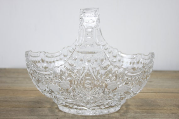 Vintage Crystal Basket - Scalloped Handle - Floral Pattern w/ Engraved Flowers - Home Decor - Mid Century