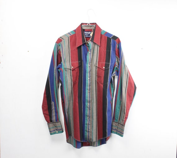 Vintage Men's Shirt - Wrangler - Western Wear - Cowboy Cut - Red/Green/Black/Blue/Gray Striped - 1980's - 1990's - 15 -33 - Med - XL Tails