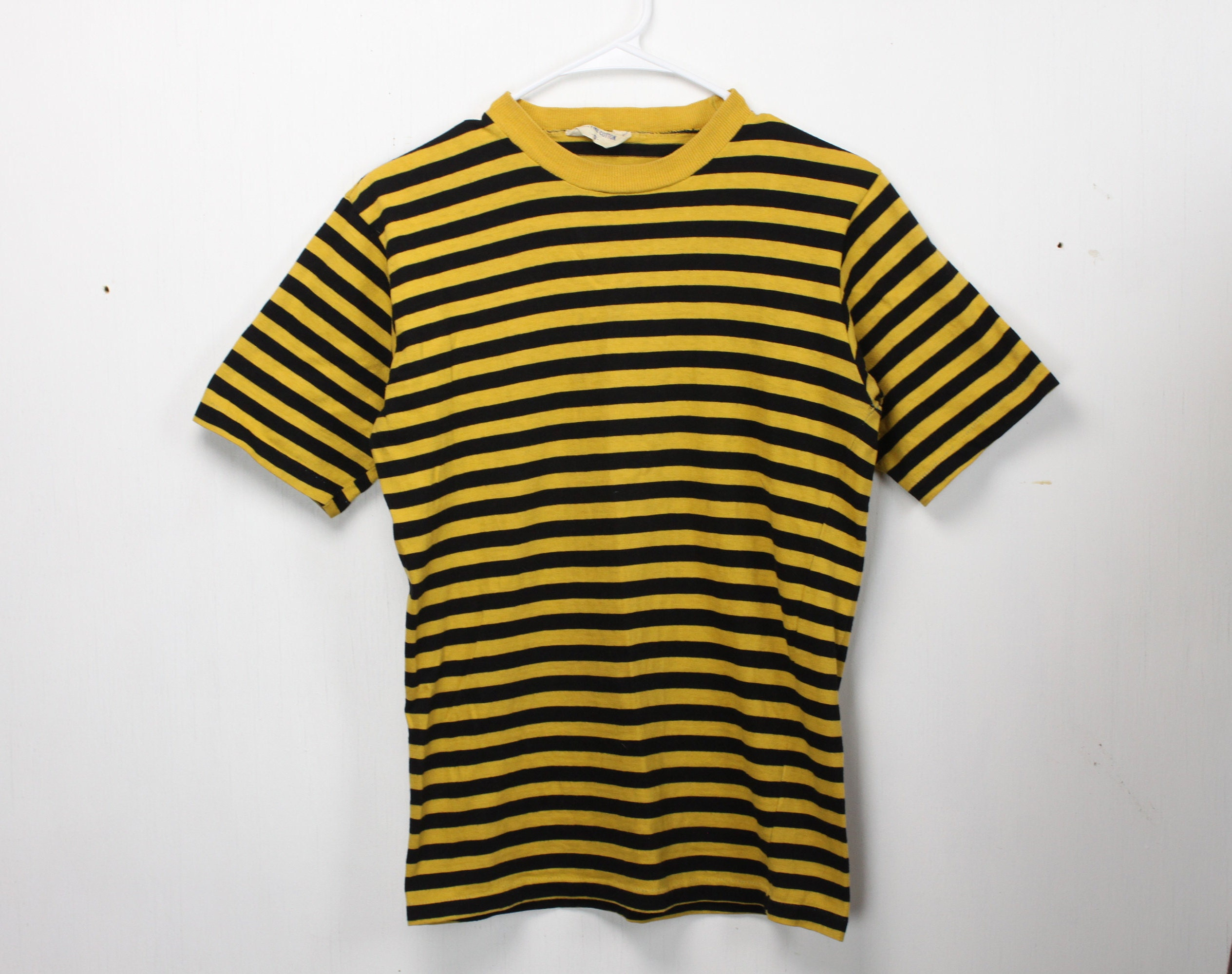 1255bcba5c Vintage Men's T-shirt - Yellow / Black Stripe - Small - Single Needle ...
