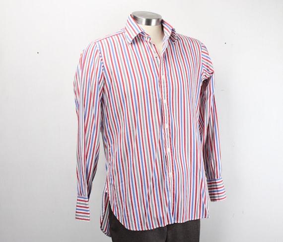 Vintage Men's Shirt - Turnbull & Asser - 100% Cotton - Red / White / Blue / Gray - Striped - 1980's - Large - 15.5 Neck