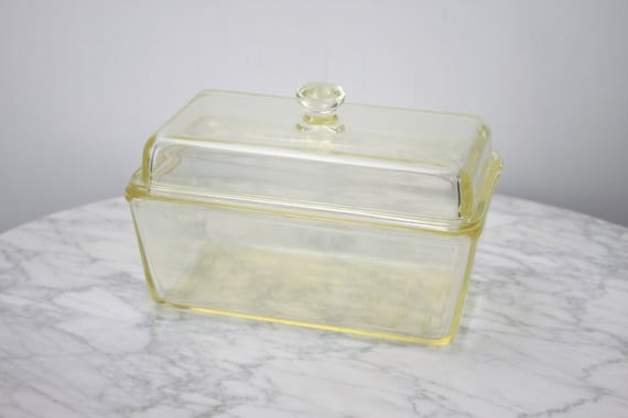 Vintage Westinghouse - Vaseline -  Glass - Refrigerator Box - Storage Container - 1930's -1940's - Casserole  - Lidded Loaf Pan - Yellow