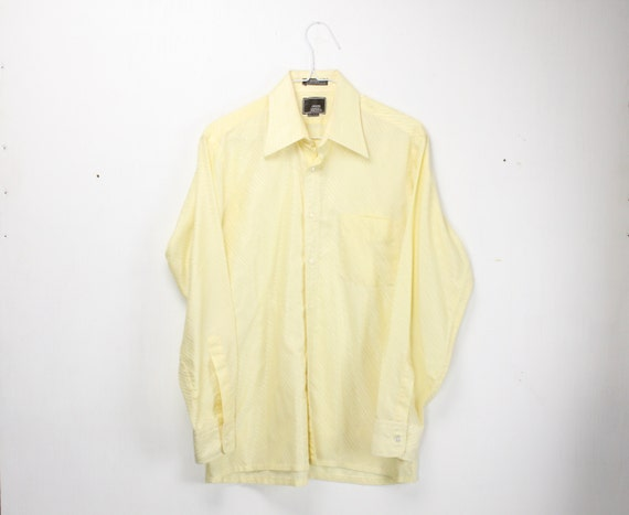 Vintage Men's Shirt - John Henry - European Fit - 1970's - Yellow - Diagonal Stripes - M - 15 Neck - Metalic
