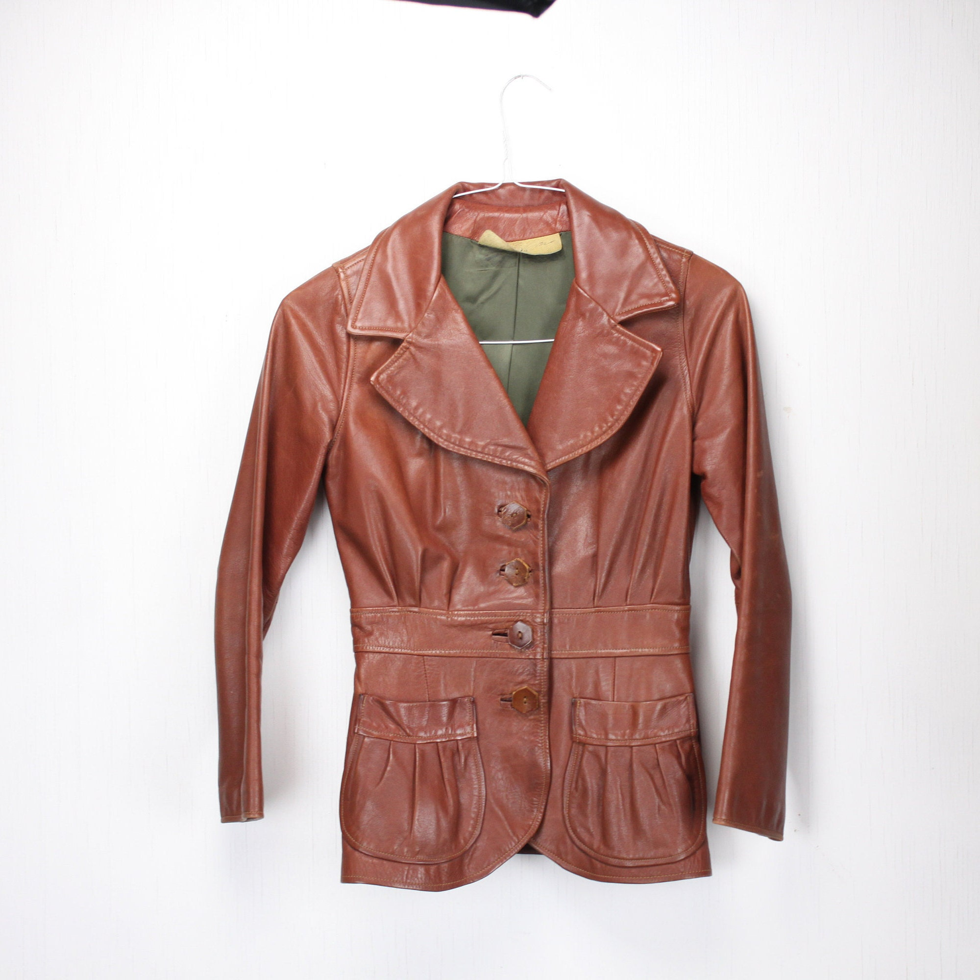 faca64c39b76 Vintage Women's Riding Jacket - Brown Leather - Handmade - Full ...