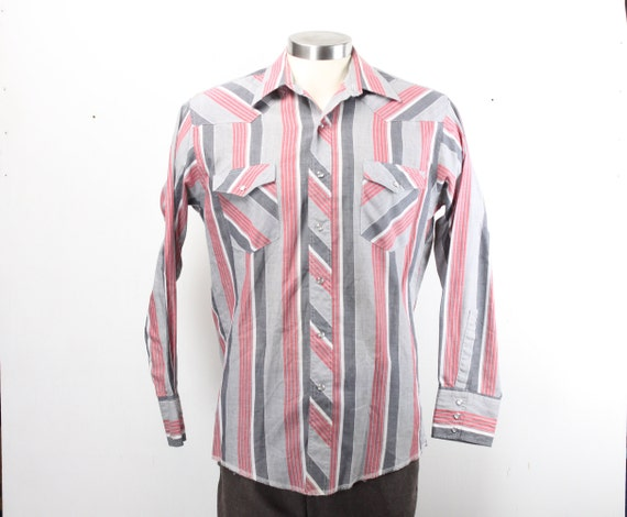 Vintage Men's Shirt - Wrangler - Western Wear - Cowboy Cut - Red/Grey/Black/White Striped - 1980's - 1990's - 16 -33 - Large - XL Tails