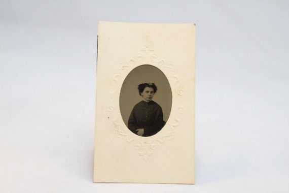 Victorian Tintype With Embossed Paper Holder 1870-1890, Image of Young Lady with Curls