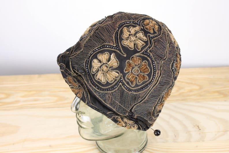 db018868a Vintage Women's Hat - Cloche - Skinner Satin - Black - Gold / Glass /  Flower Accents - 1920's - 1930's - Brocaded - Turban - Women's Fashion