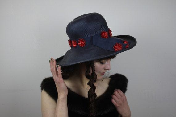 Vintage Straw Bonnet - Mr. John Classic - 1960's - Navy Blue - Vintage Women's Fashion - Women's Spring & Summer Fashion - Accessories