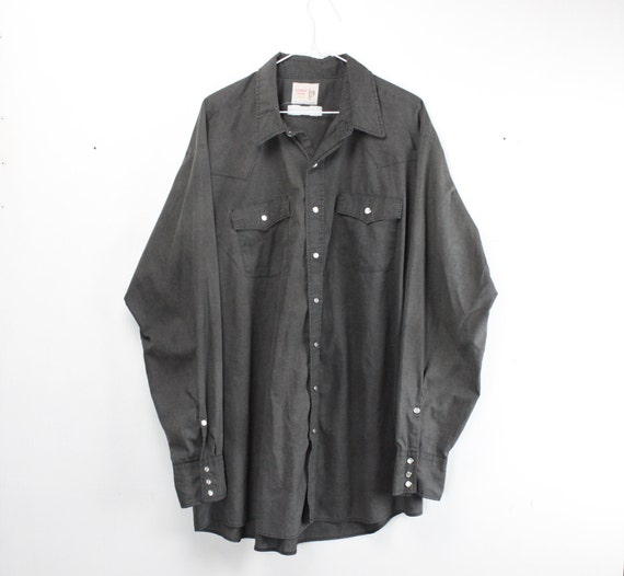 Vintage Men's Shirt - Saddle King - Tall - Western Wear - Charcoal Black- 1970's - Big Fit - 18 - 3X Large - XL Tails