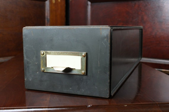 Vintage 1920's - Universal Steel Cabinet Co. Inc. Card File Box - 1 Drawer - Stackable - Army Green - Brass Pull - Vintage Home Decor
