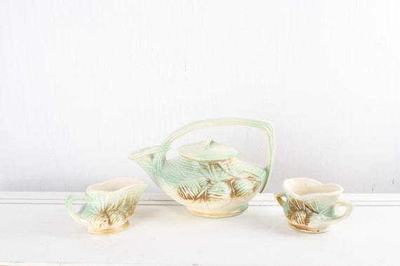 Vintage McCoy Tea Set - Teapot - Sugar - Creamer - Pine Cone - Green - Brown - Beige - Art Nouveau - 1940's