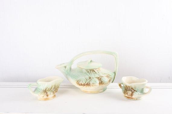 Vintage McCoy Tea Set - Teapot - Sugar - Creamer - Pine Cone - Green - Brown - Beige - Art Nouveau - 1940's