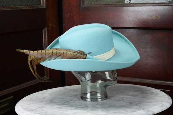 Vintage - Dead Stock - Adolfo II - Cowboy - Musketeer - Hat - Felt - Teal - Vintage Women's Fashion - Spring & Summer Fashion