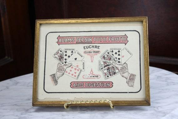 Victorian Advertising Print - Lithograph - Adam's Pepsin Tutti Frutti - Gilt Frame