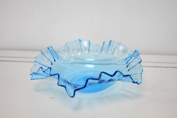 Antique - Victorian Bridal Basket Insert - Handmade - Ice Blue - Ruffled Edge Bowl - Late 1800's - Mint Condition - 7 Inch