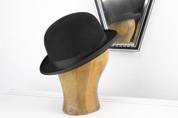 Vintage Men's Fine Fur Felt Bowler - Bond - Imperial Fen - Black - Size 7 1/8th - Adult Medium - Mid Century - 1950's