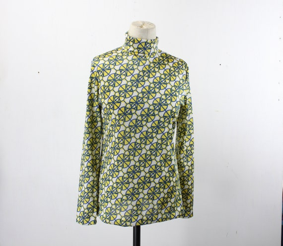 Vintage Women's Turtle Neck Blouse - Aileen - Blue Yellow White - Medallion Pattern - 1960's  - Size 4 - Small - Mod