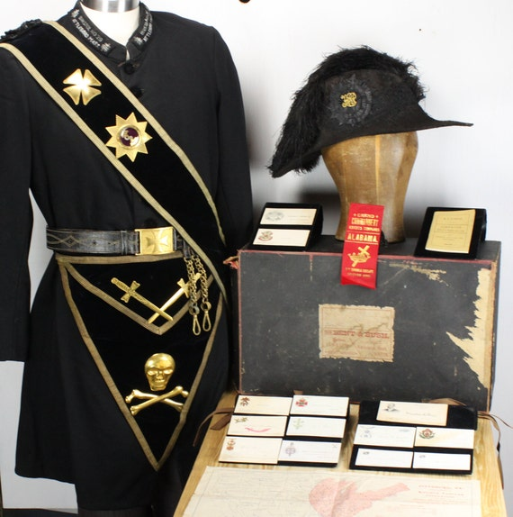 Antique - Masonic - Knights Templar - 19th Century - Collection - Cocked Hat - Apron - Sash - Sword Belt w/ Box & 26th Triennial Ephemera