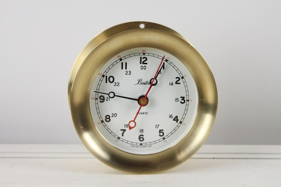 "Vintage - Boston Chelsea - 4 & 1/2"" Shipstrike Clock - Quartz Movement - Brass - Nautical/Ship - Wall -"