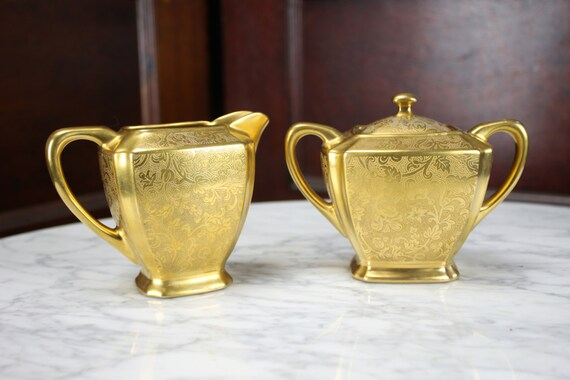 Vintage - Supreme Art Co - Sugar & Creamer Set - China - Gold on Porcelain - 1920's - Art Deco - Egyptian Revival