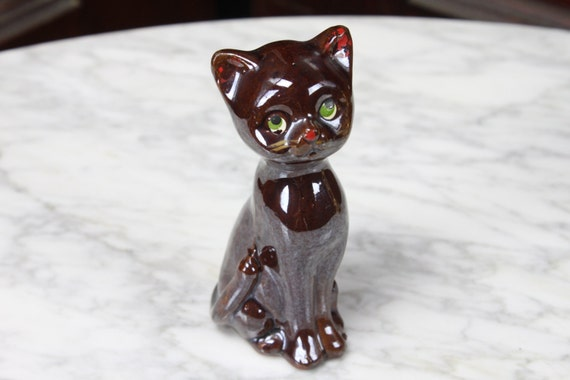 Vintage - Mid Century - Lusterware - Cat - Statue - Brown - Hand Painted - Japan - Redware - Earthenware - Stoneware
